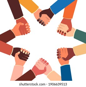 Teamwork concept - joined holding hands of people from different races and countries in star shape. Isolated vector illustration of diversity and group unity symbol.