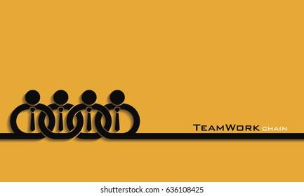 Teamwork concept / partner in chain, vector