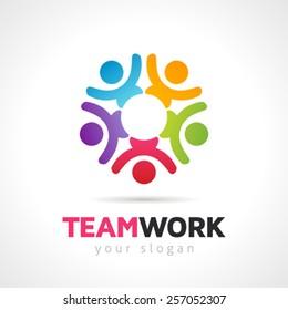 Teamwork Concept People Symbol  Vector Logo Template