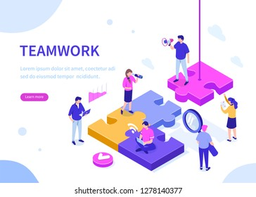 Teamwork concept with puzzle. Can use for web banner, infographics, hero images. Flat isometric vector illustration isolated on white background.