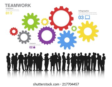 Teamwork Concept with Silhouettes of Business People Working and Gears