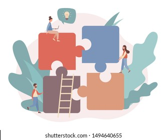 Teamwork concept. Team metaphor. People connecting puzzle elements. Flat cartoon style. Vector illustration