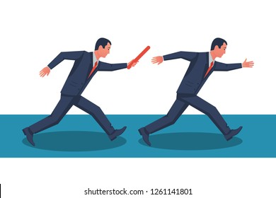Teamwork concept. Two businessman passed from hand to hand relay baton. Vector illustration flat style design. Cooperation, partnership. Symbol of working together. Business metaphor. Running people.