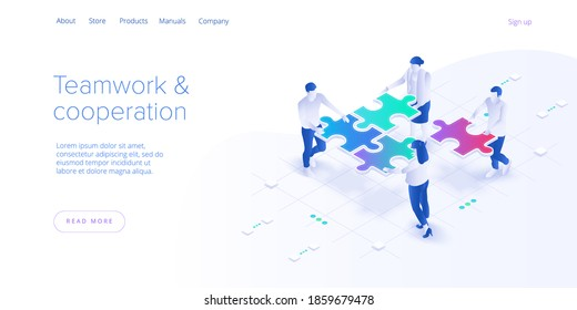 Teamwork concept vector illustration. Business team matching pieces of puzzle. Cooperation or partnership metaphor. Web banner.