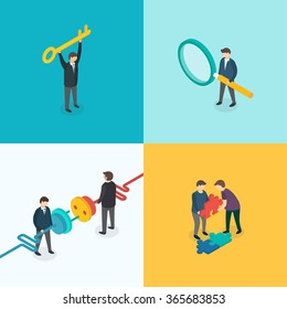 Teamwork, Connection, Key solution, Search concept. Isometric 3d vector set