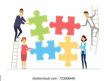 Teamwork and cooperation for business - modern cartoon people characters illustration with smiling colleagues putting puzzle pieces together standing on a ladder. Creative concept of team building