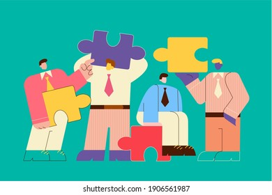 Teamwork, cooperation, business partnership concept. Business people partners coworkers holding puzzle pieces and working together on corporate project vector illustration