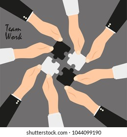 Teamwork and cooperation concept. Hands holding and putting puzzle pieces together. Vector illustration in flat style