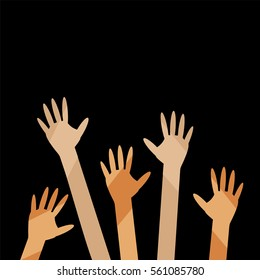 Teamwork, cooperation, diversity concept. Vector multicolor hands, arms isolated on white