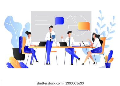 Teamwork, cooperation, partnership concept. Vector flat style illustration. Business people have brainstorming in office.