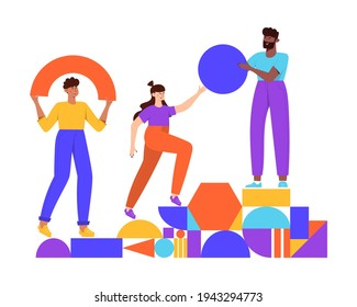 Teamwork, coworking, business partnership concept flat illustration. Characters with abstract geometrical shapes. Diverse people working together. Men and women organize abstract geometric figures