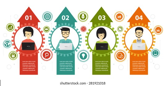 teamwork and coworking infographic business concept, flat design style