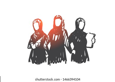 Teamwork, coworking, partnership, business woman concept sketch. Business women from Saudi Arabia standing with phone and documents. Hand drawn isolated vector illustration