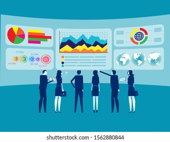Teamwork and data analysis. Concept business delineation vector illustration, Big Data and Stock Market Data