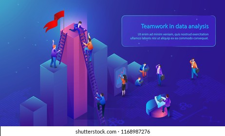 Teamwork in Data Analysis Isometric Vector Banner with Office People Working Together to Reach Top in Business. Collaboration in Analysis of Financial Statistics, Business Data Researching Concept