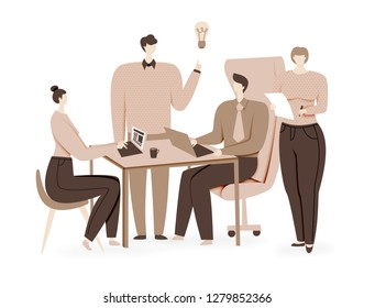 Teamwork design, brainstorming creative idea, vector concept