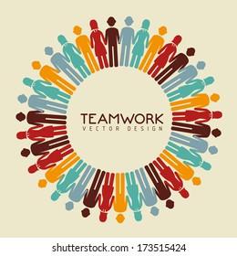 teamwork design over  beige  background vector illustration