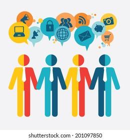 Teamwork design over blue background, vector illustration