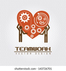 teamwork design  over dotted background vector illustration