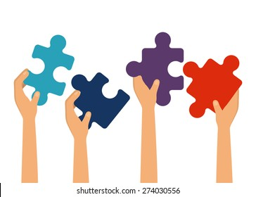 Teamwork design over white background, vector illustration