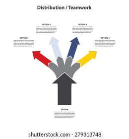 Teamwork and Distribution - 4 Vertical Diverging Arrows, Isolated on White Background - Vector Infographic