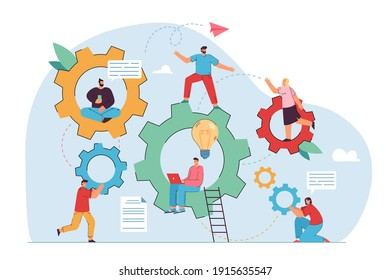 Teamwork and engineering vector illustration. Company staff moving gear mechanism together, using laptop, talking, sitting in cogwheels. For technology, communication concept