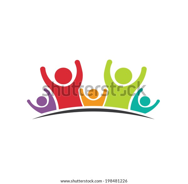 Teamwork Five Friends logo image. Concept of Group of People, happy team, victory.Vector icon