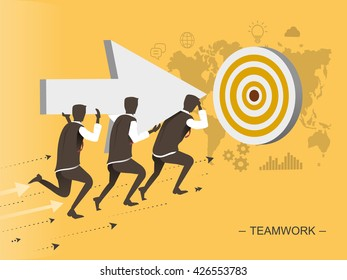 teamwork flat design illustration - men moving toward the target