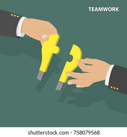 Teamwork flat isometric low poly vector concept. Two hands combine together two parts of the puzzle which look like a light bulb.
