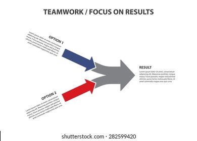 Teamwork and Focus on Results - 2 in 1 Horizontal Converging Arrows, Vector Infographic