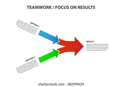Teamwork and Focus on Results - 2 in 1 Bright Horizontal Converging Arrows, Vector Infographic