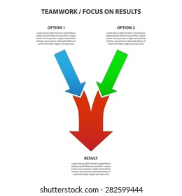 Teamwork and Focus on Results - 2 in 1 Bright Vertical Converging Arrows, Vector Infographic