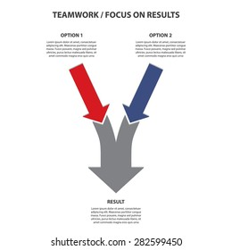 Teamwork and Focus on Results - 2 in 1 Vertical Converging Arrows, Vector Infographic
