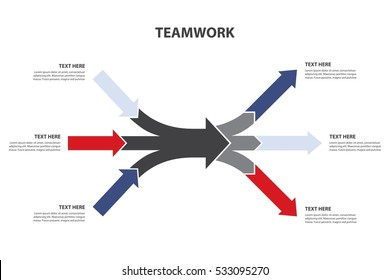 Teamwork and Focus on results. 3 Converging and 3 Diverging horizontal arrows, isolated on white background. Vector Infographics template.