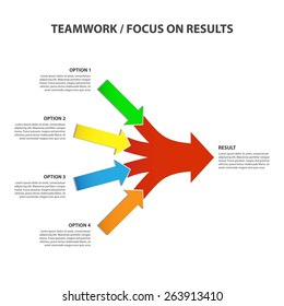 Teamwork and Focus on Results - 4 in 1 Horizontal Converging Arrows, Vector Infographic