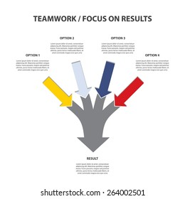 Teamwork and Focus on Results - 4 in 1 Vertical Converging Arrows, Vector Infographi?