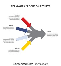 Teamwork and Focus on Results - 4 in 1 Horizontal Converging Arrows, Vector Infographi?