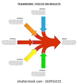 Teamwork and Focus on Results - 5 in 1 Horizontal Converging Arrows, Vector Infographic