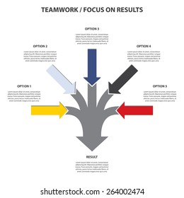 Teamwork and Focus on Results - 5 in 1 Vertical Converging Arrows, Vector Infographi?