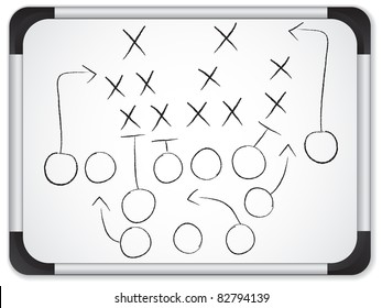 Teamwork Football Game Plan Strategy on Whiteboard