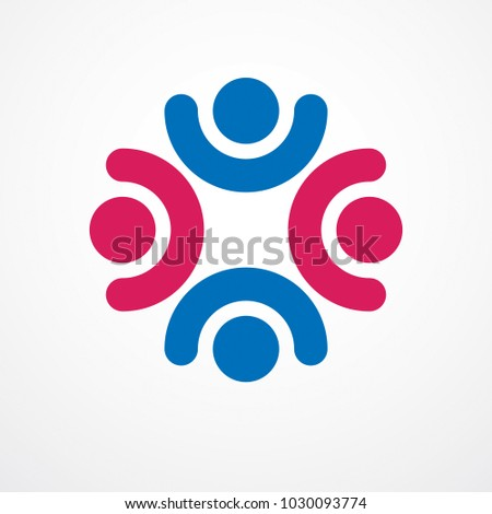 Teamwork Friendship Concept Created Simple Geometric Stock Vector