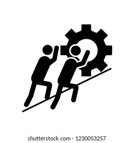 Teamwork glyph icon. Team. Partnership. Two businessmen pushing cogwheel up. Join efforts. Silhouette symbol. Negative space. Vector isolated illustration