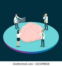 Teamwork group of medical doctor or health professional analysis the brain for find the problem. Concept for cognitive rehabilitation in Alzheimer disease and dementia patient.