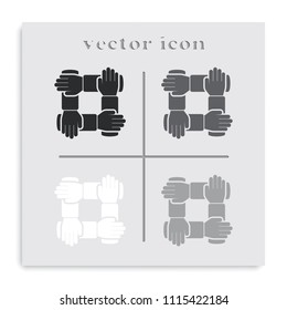 Teamwork hands people flat black and white vector icon.