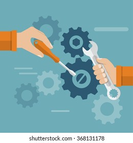 Teamwork. Hands team with a tool to repair mechanism. Sleek design, vector illustration. Concept teamwork , brainstorming. Development and motivation to work together.