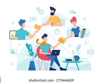 Teamwork home office, online work management and team communication, vector flat thin line design. Home office freelance teamwork people managing corporate business online, modern remote work concept