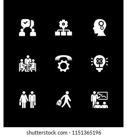 teamwork icon. 9 teamwork set with communication, worker, call and student vector icons for web and mobile app