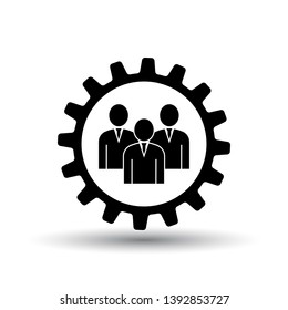 Teamwork Icon. Black on White Background With Shadow. Vector Illustration.