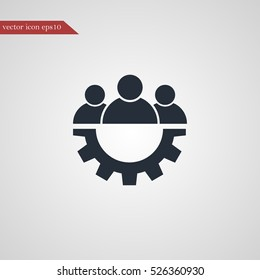 Teamwork icon gear simple vector illustration