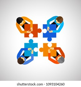 Teamwork icon isolated on white background. Teamwork flat icon for web site,poster,placard,app and logo. Creative business concept, vector illustration, eps 10